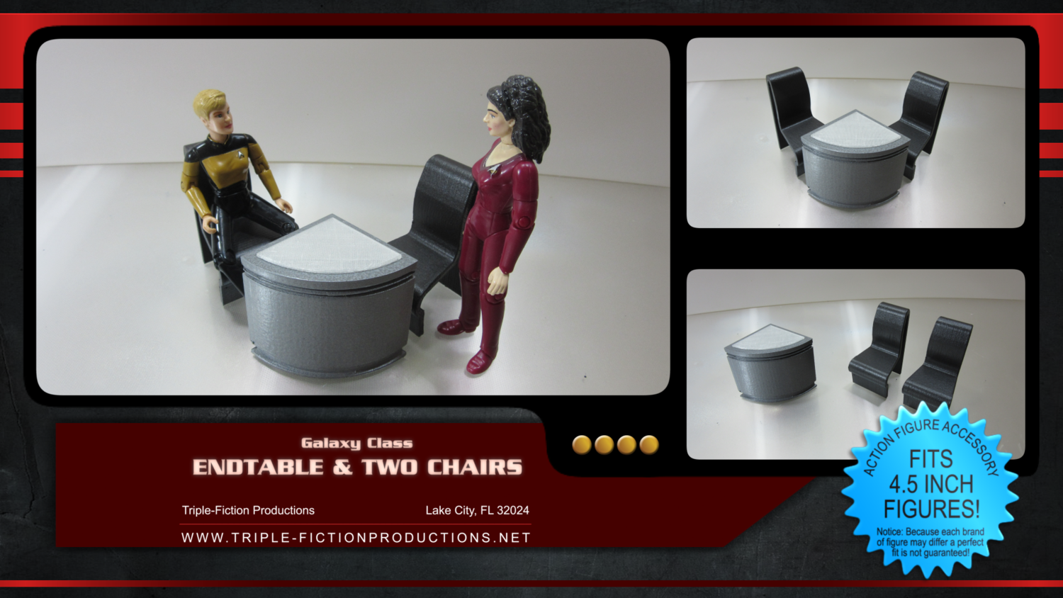 """Galaxy Class - 4.5"""" Scale - Quarter Table & Two Chairs"""