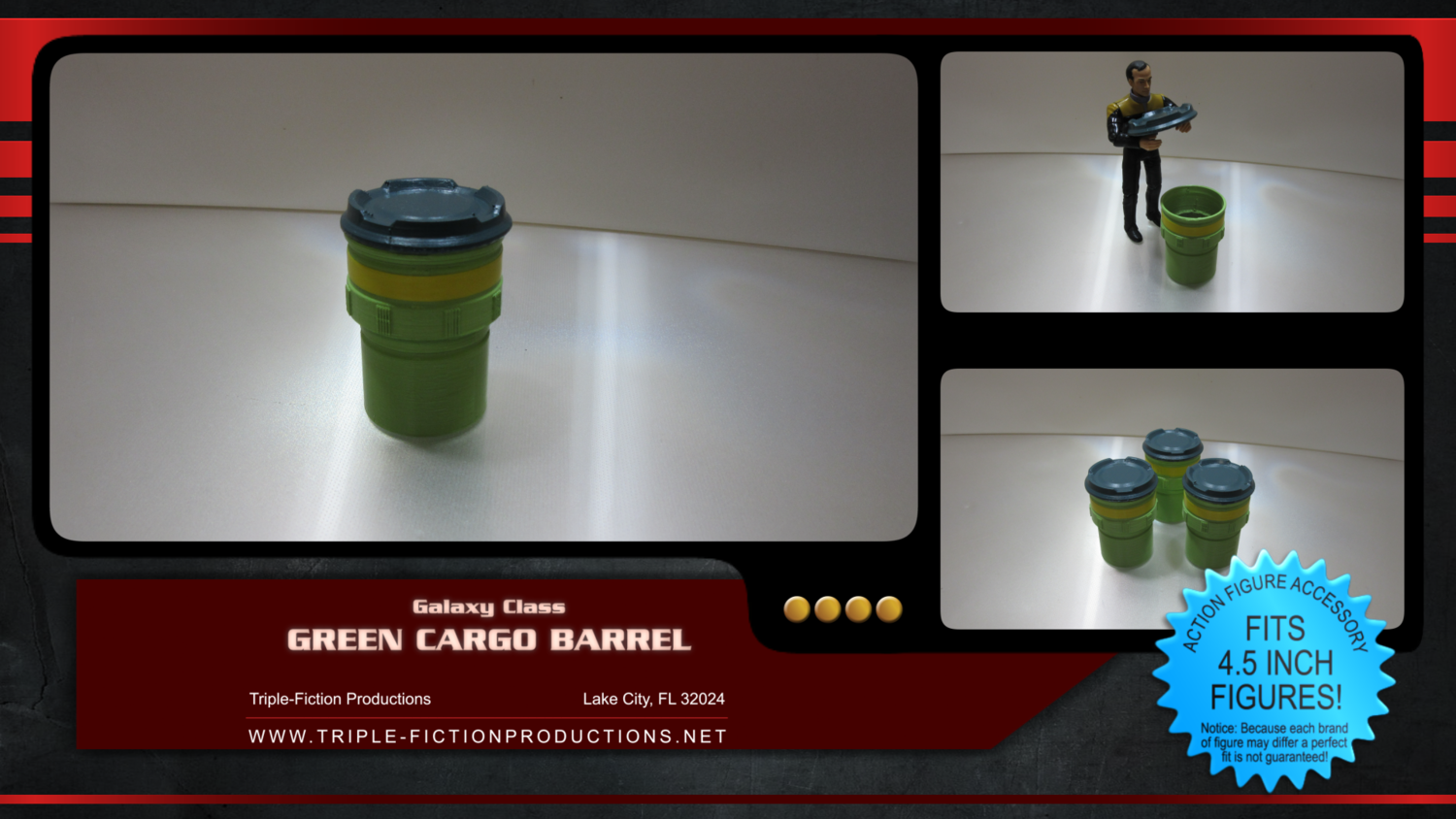 "Galaxy Class - 4.5"" Scale - Green Cargo Barrel (Single)"