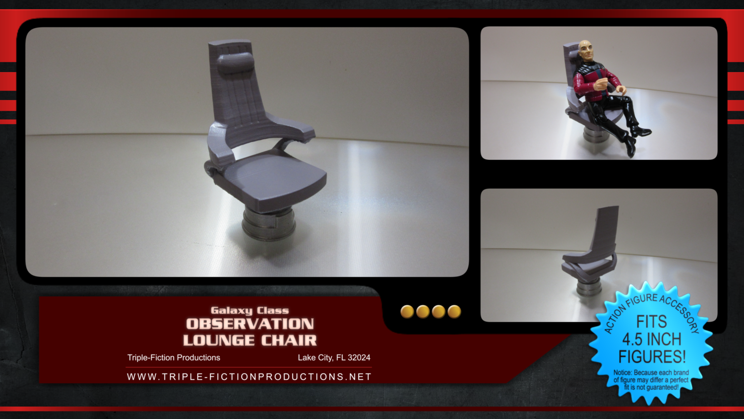 """Galaxy Class - 4.5"""" Scale - Observation Lounge Chair"""