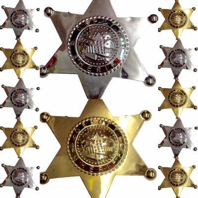 12 Estrella Sheriff Plastico Distintivo Policia Seguridad