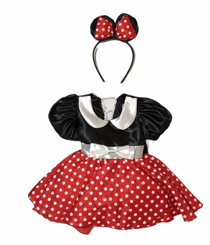 Disfraz Vestido Niña Tipo Minnie Mouse Mimi Disney Ratoncita