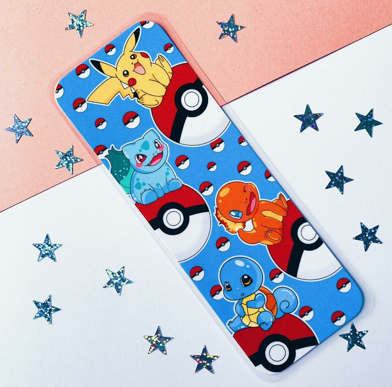 Pokémon starter inspired laminated bookmark