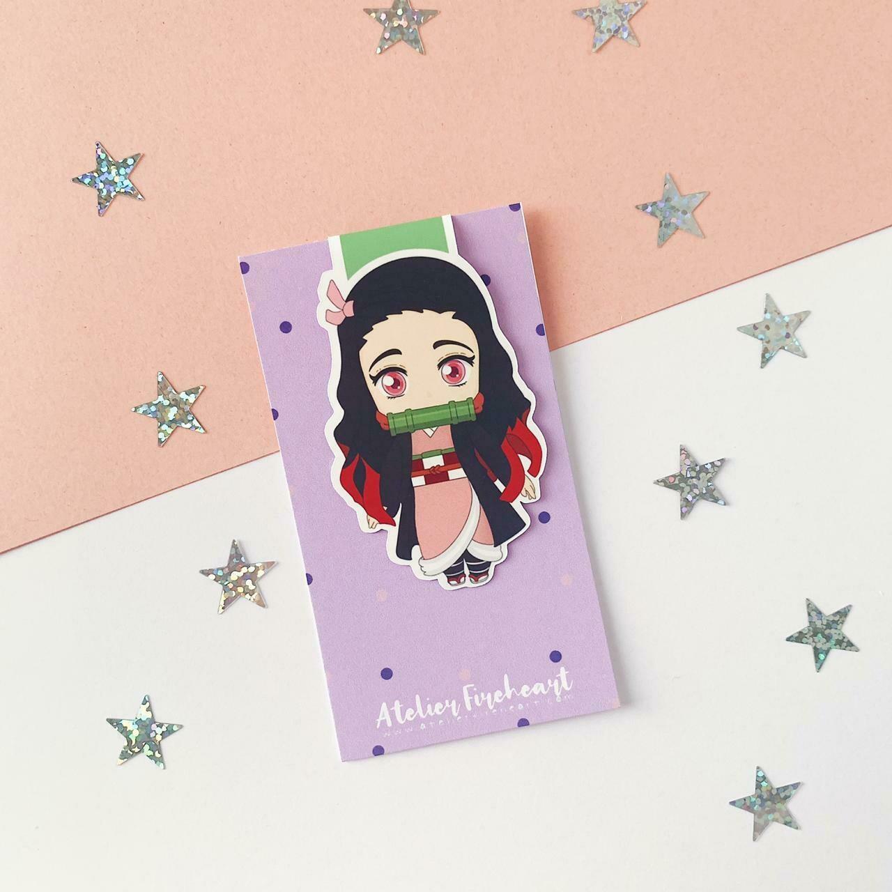 Nezuko anime inspired magnetic bookmark