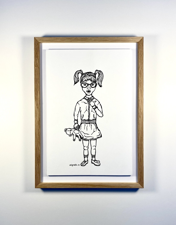 Originalzeichnung 'Mädchen mit Teddy'