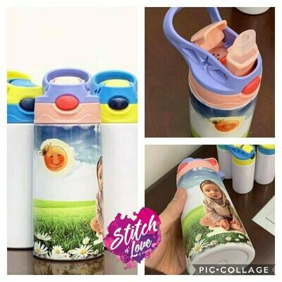Children's no spill straw cup with lid