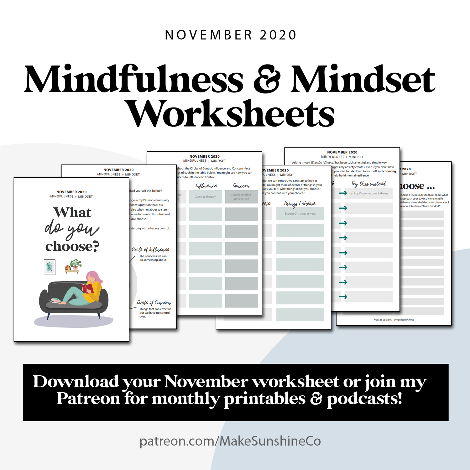 Mindfulness & Mindset Worksheets | November 2020 | What do you choose?