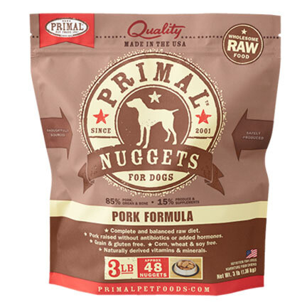Primal Dog Nuggets Pork 3#