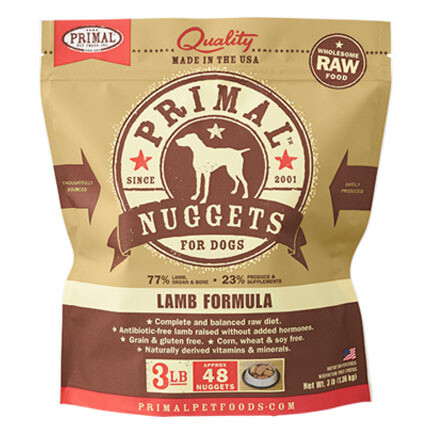 Primal Dog Nuggets Lamb 3#