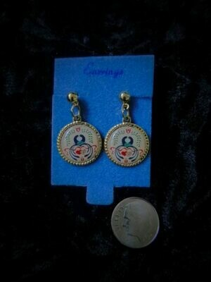 vintage Love and Marriage and Happiness hex sign earrings