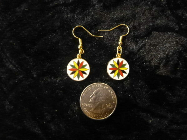 Vintage 12 Point Rosette earrings ( gold color ) large