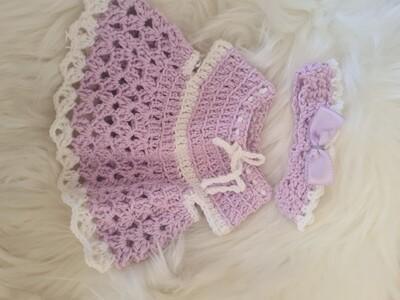 10 inch purple baby dress and headband