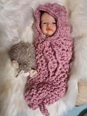 Newborn pink chunky pink cocoon