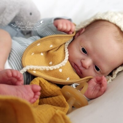 Phineas by Bountifull babies ready to be reborn, soft cloth body  eyes, glassbeads, lashes and 1 wonderwafer included