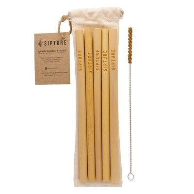 Sipture Bamboo Straws Set 5pcs