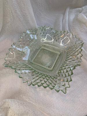 Green Depression Era Glass Ashtray/Trinket Tray