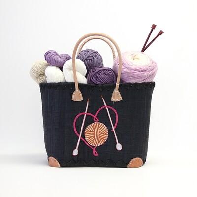 Sac à tricot - Coeur en laine - Noir  -