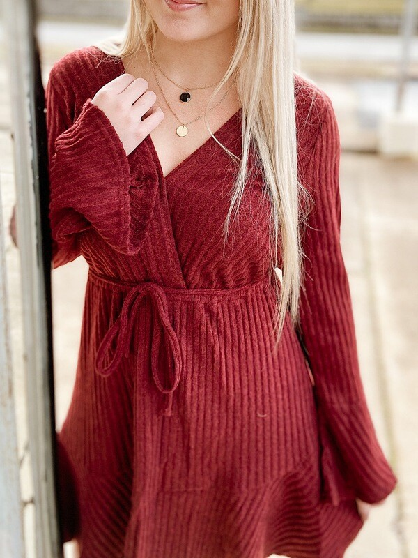 Wine Ribbed Tie Waist Dress WP
