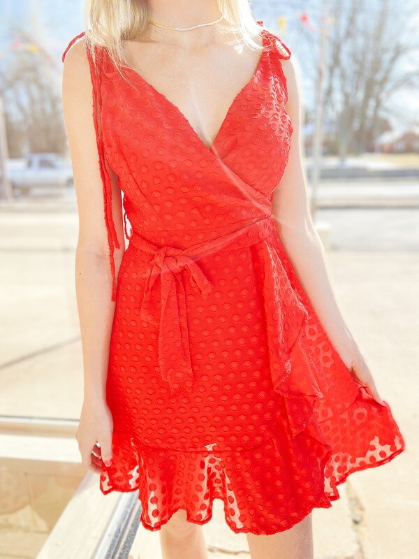 Red Polka-Dot Tie Dress