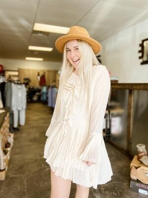 Cream Pleated Dress