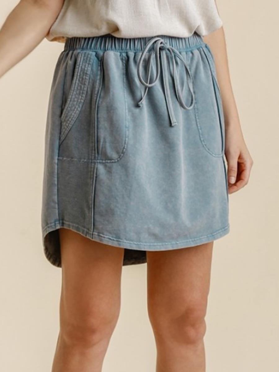 Denim Mineral Wash Skirt