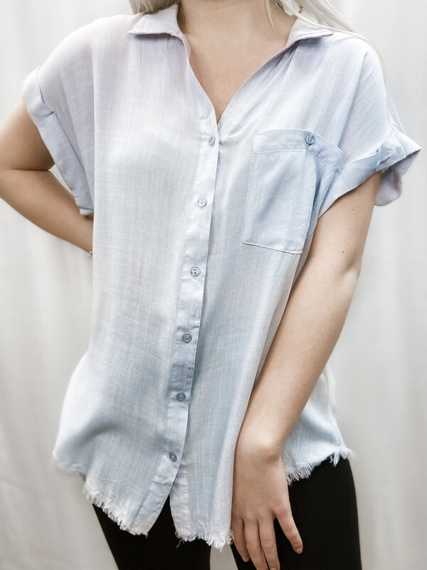 Silver Washed Frayed Top