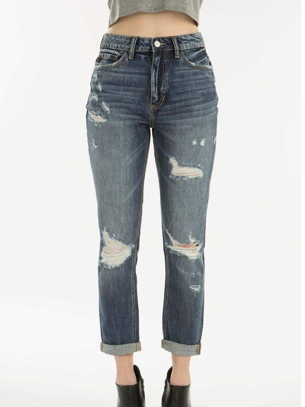 KC 9147 Benny High Rise Girlfriend Jeans