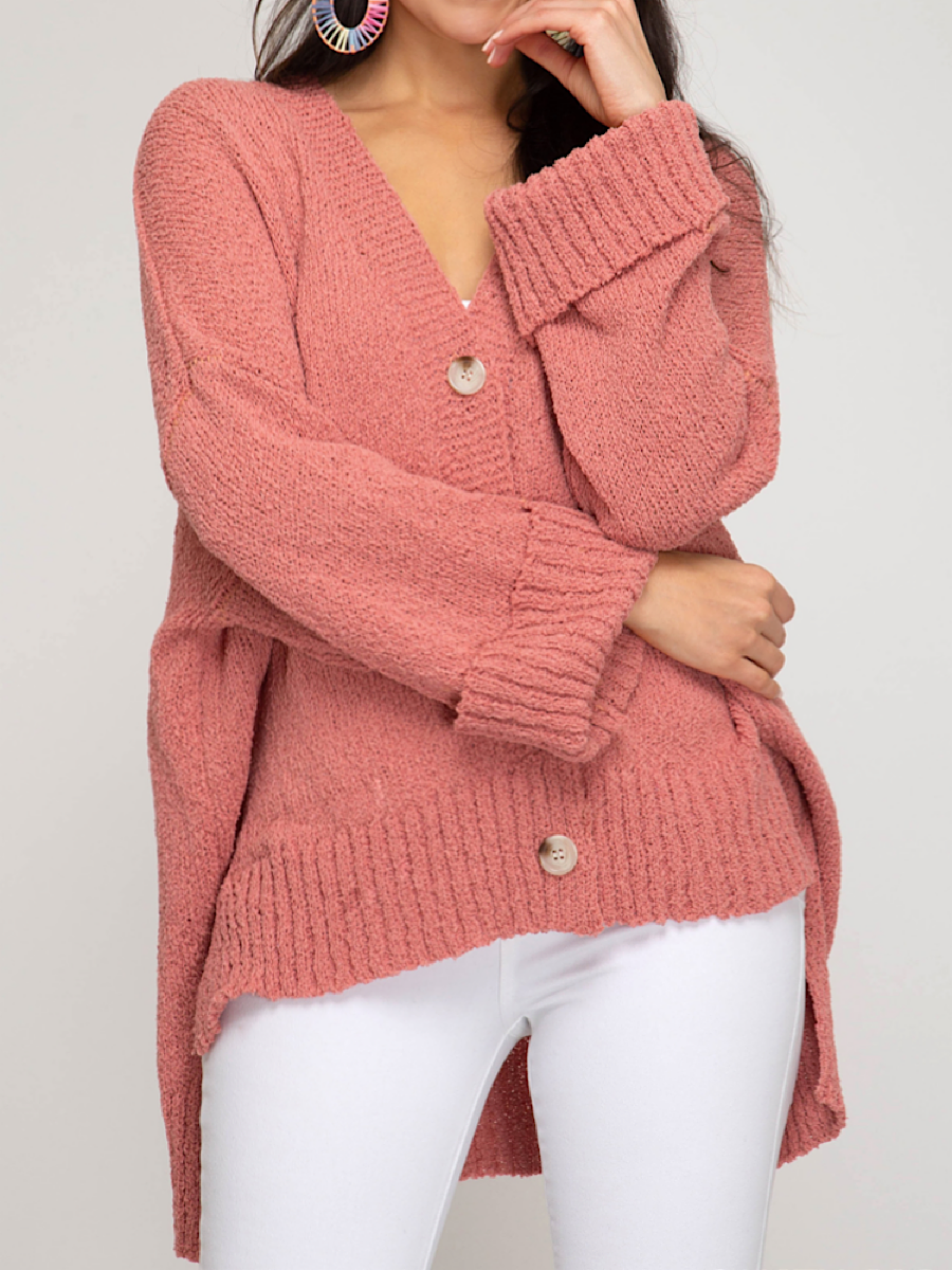 Coral Oversized Cardigan MS