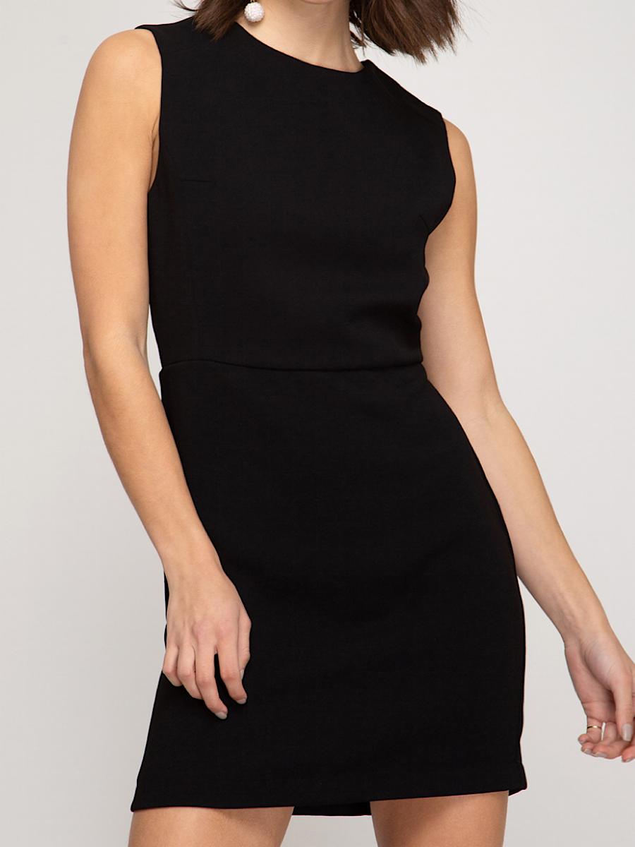 Black Knit Mini Dress