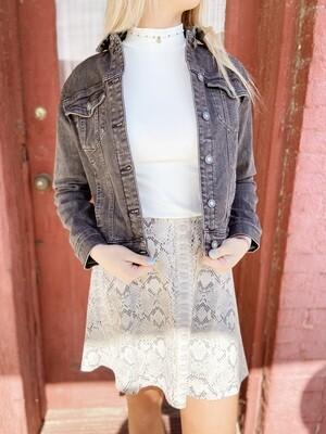 Suede Snakeskin Print Skirt