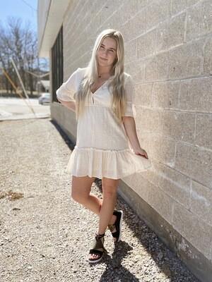 Cream V Neck Dress