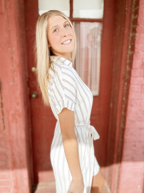 White Striped Shirt Dress