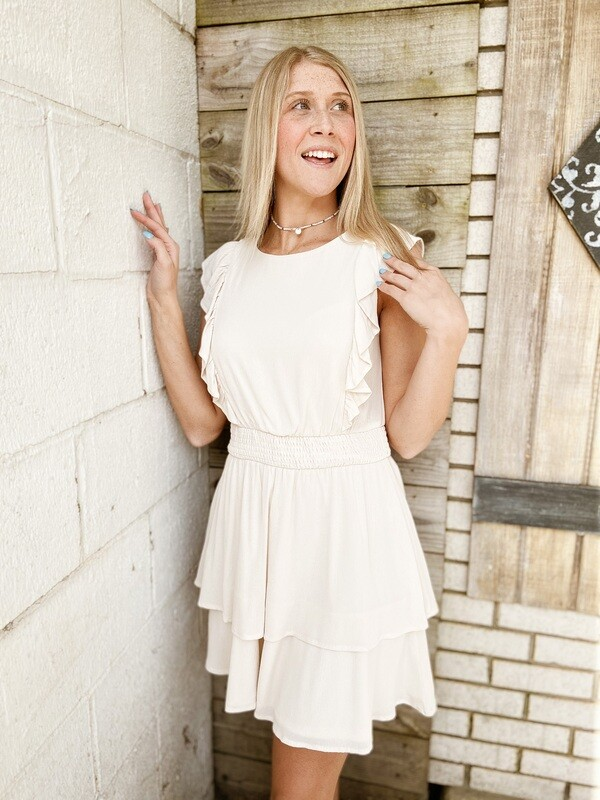 Cream Smock Mini Dress