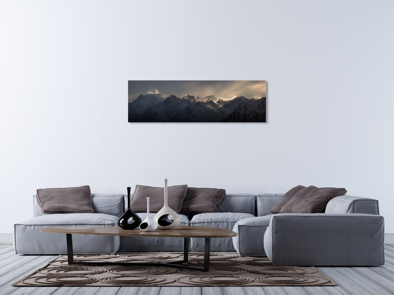 """Mystic wind"". Mountain view between Verbier and Chamonix. Alu-Dibond 90cm x 30cm"