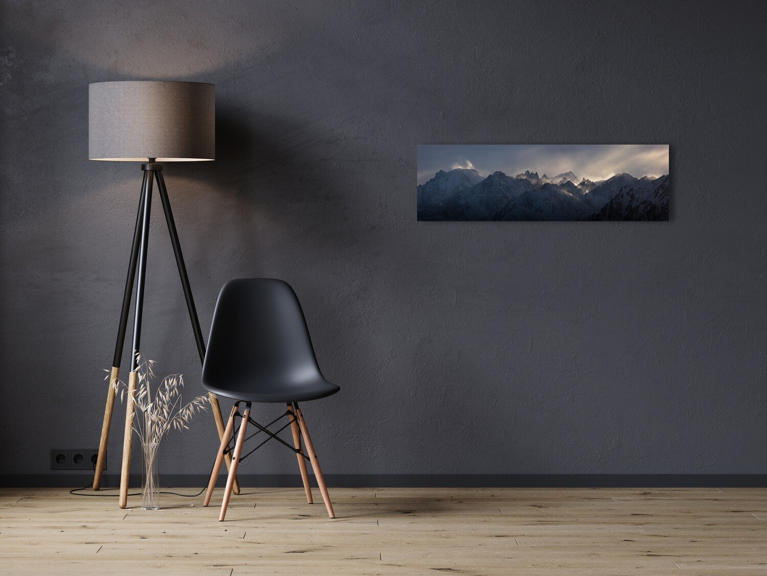 """""""Mystic wind"""". Mountain view between Verbier and Chamonix.  Canvas 100cm x 30cm"""