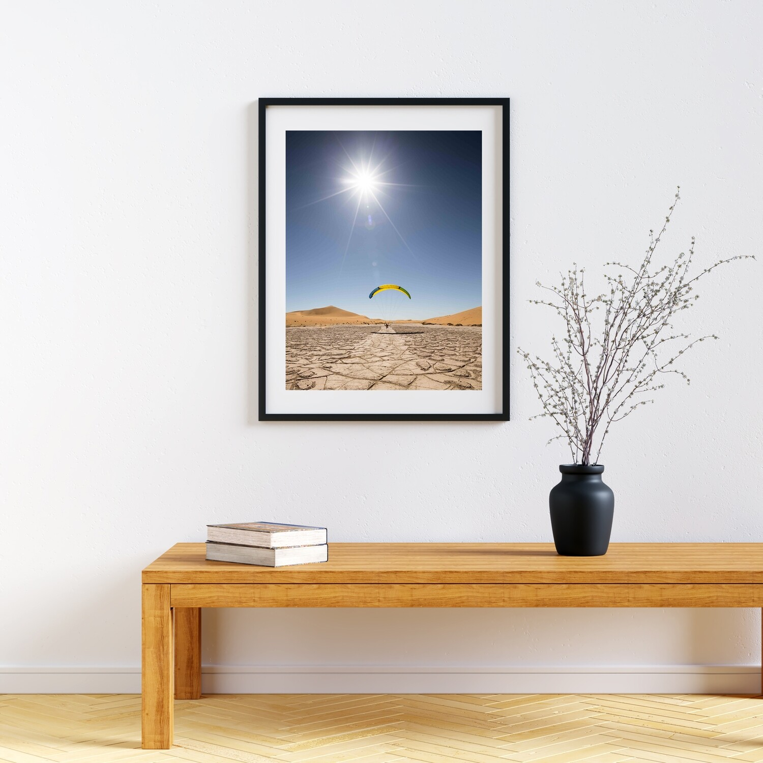 """Desert landing"". Paraglider pilot landing in line with the ground drawing in the Namibian's desert. Art Print on Hahnemühle Torchon 50cm x 40cm"