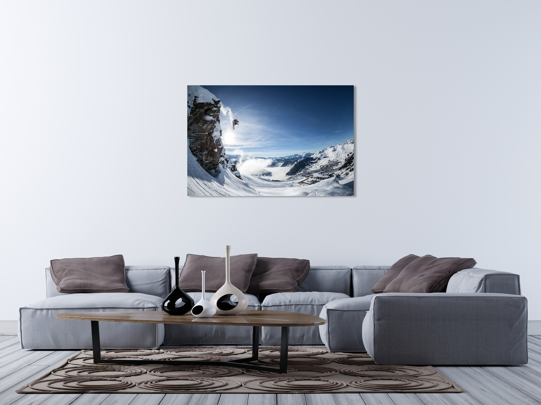 """""""Cliff Drop Les Ruinettes"""".  Skier jumping a big cliff above Les Ruinettes in Verbier.  Skieur sautant une barre rocheuse au dessus des Ruinettes à Verbier.  Canvas Print or/ou Alu-Dibond 90cm x 60cm"""