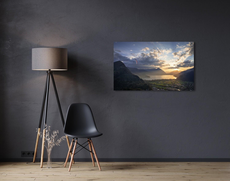 Sunset paragliding flight above Interlaken with lake Thun in the background.  Vol en parapente au coucher de soleil au dessus d'Interlaken.  Canvas Print / Impression sur toile 90cm x 60cm