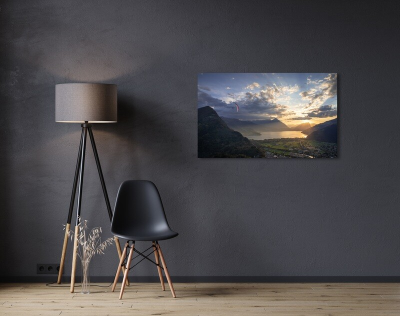 Sunset paragliding flight above Interlaken with lake Thun in the background.  Vol en parapente au coucher de soleil au dessus d'Interlaken.  Canvas Print / Impression sur toile 90cm x 60cm