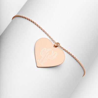 Cactus Engraved Silver Heart Necklace