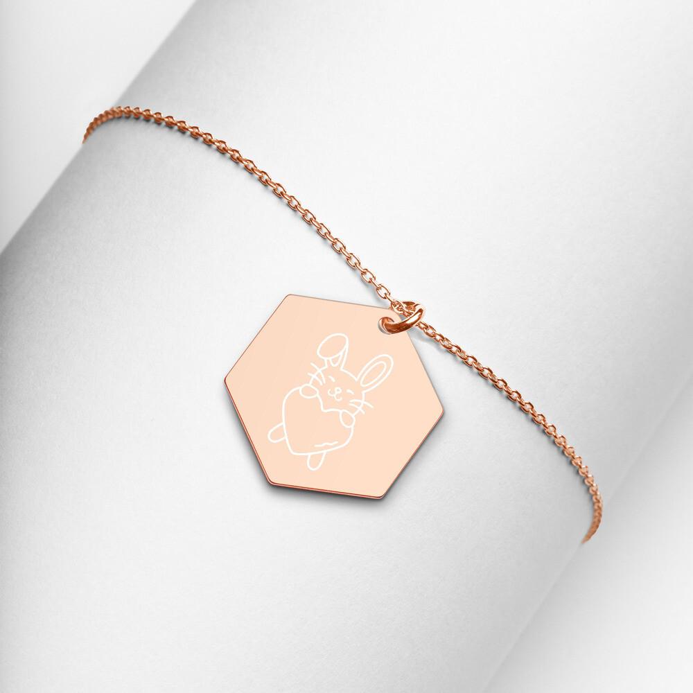 Rabbit Heart Engraved Silver Hexagon Necklace