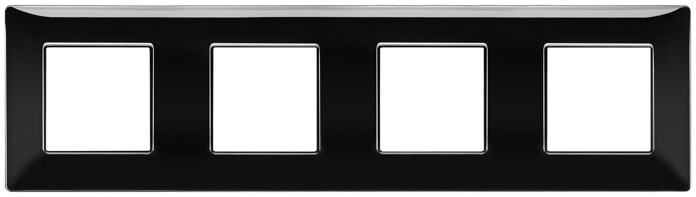 Накладка для 8 модулей (2+2+2+2) расстояние между центрами 71мм черная