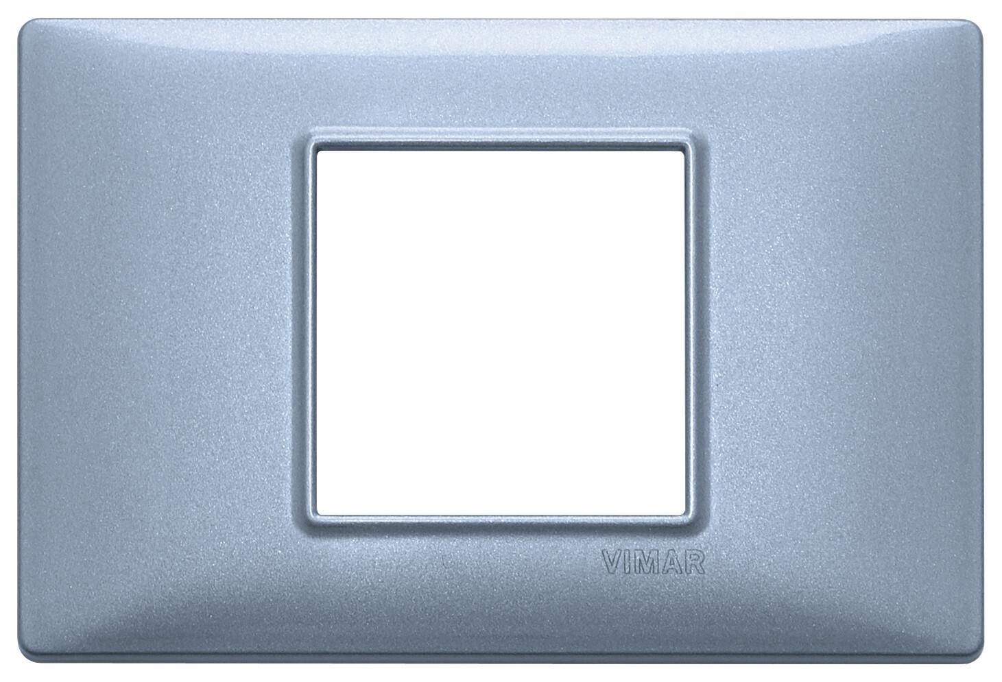 Накладка для 2 модулей центрально синяя металлизированная