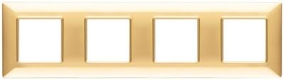 Накладка для 8 модулей (2+2+2+2) расстояние между центрами 71мм золото блестящее