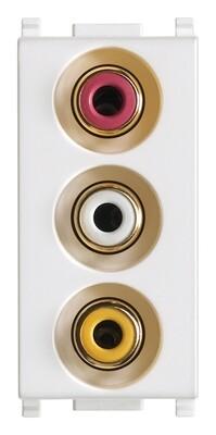 Розетка с тремя RCA коннекторами, белая