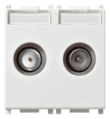 Розетка tv-rd-sat концевая с 2 выходами белая