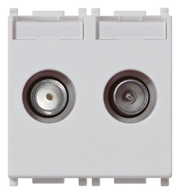 Розетка tv-rd-sat концевая с 2 выходами серебристая