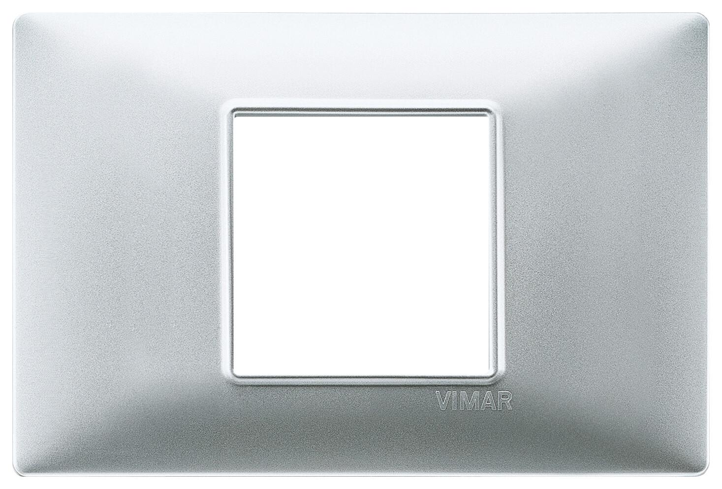 Накладка для 2 модулей центрально серебро матовое
