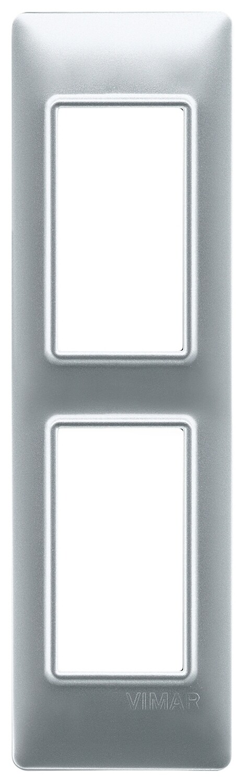 Накладка на 2 модуля для панелей, серебро матовое
