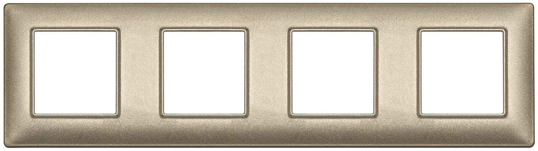 Накладка для 8 модулей (2+2+2+2) расстояние между центрами 71мм бронза металлизированная