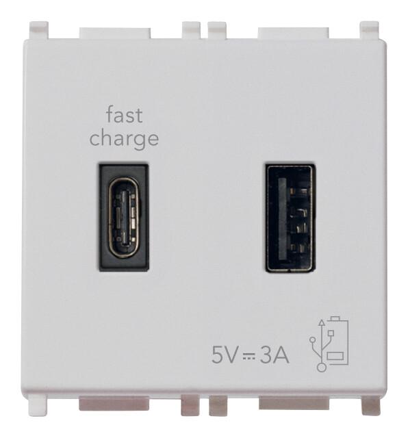 ЗарядноеустройствосразъемомUSBA+C5V3A,2модуля,серебристое